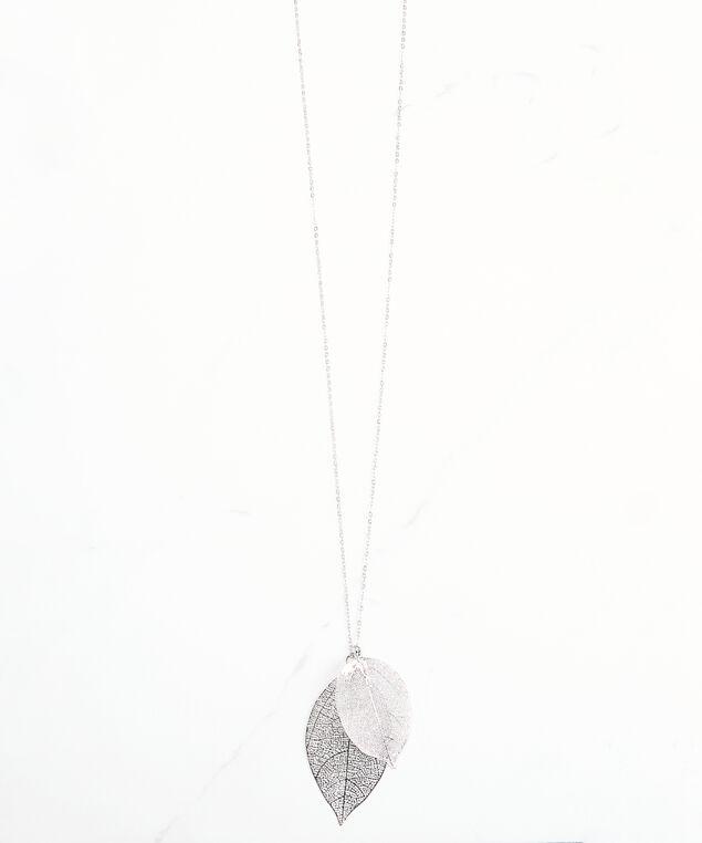 long leaf necklace, Silver, hi-res