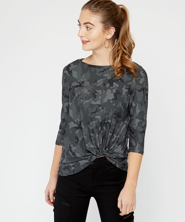 3/4 sleeve knotted top - wb, Camo, hi-res