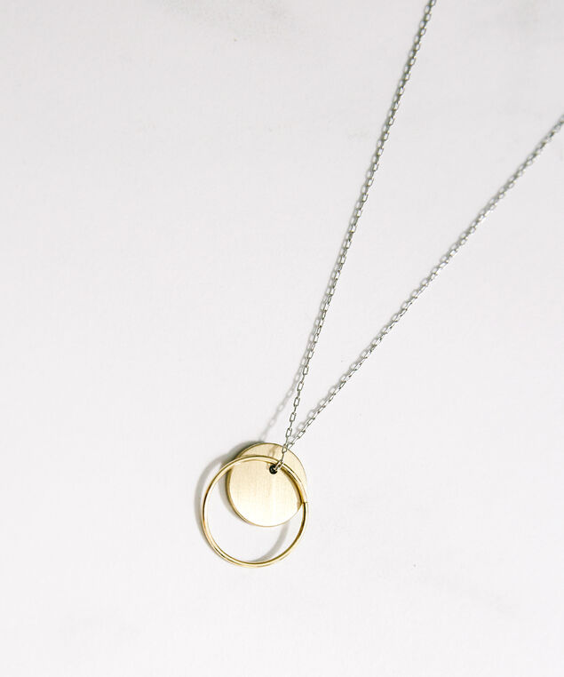 circle ring necklace, gold/silver, hi-res