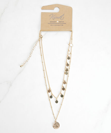 2 row pendant necklace, Gold, hi-res