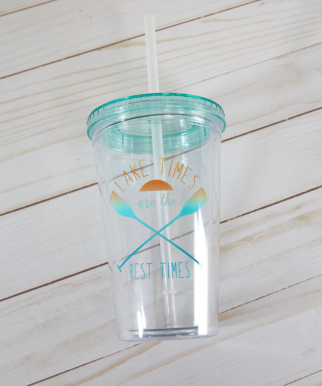 re-usable plastic tumbler - wb, clear, hi-res