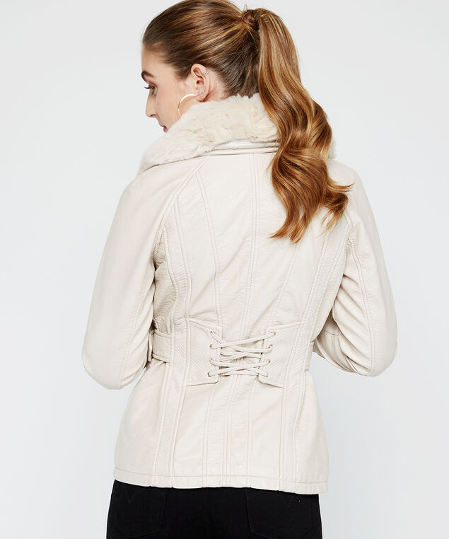 belted pu jacket, Pearl