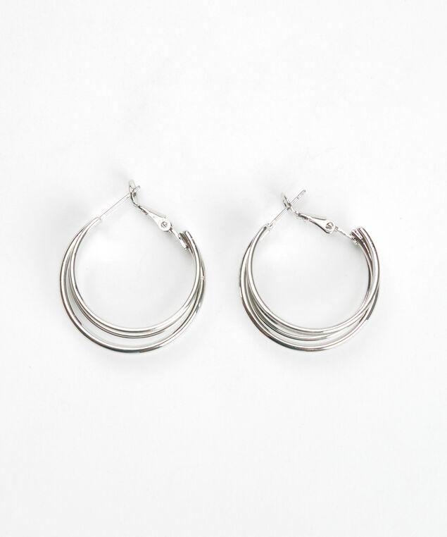 single hoop earrings, Silver