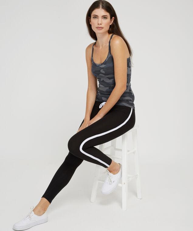 brushed legging with stripe, BLACK/WHITE, hi-res