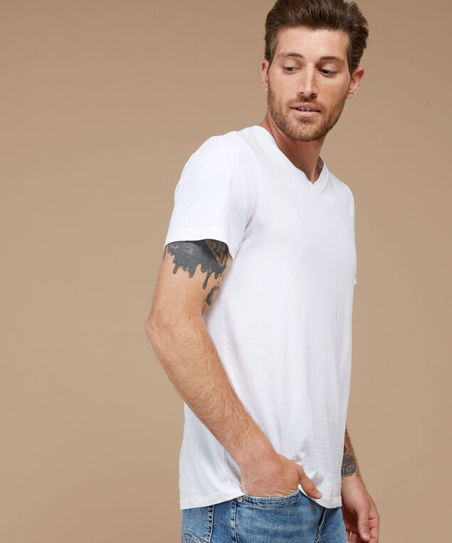 owen v-neck, WHITE, hi-res