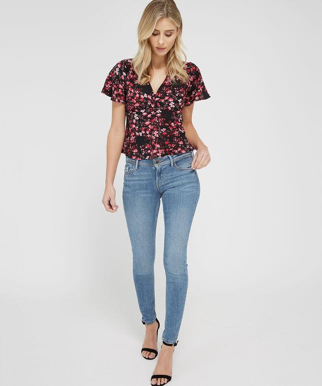 button front peplum blouse - wb, BLACK FLORAL, hi-res