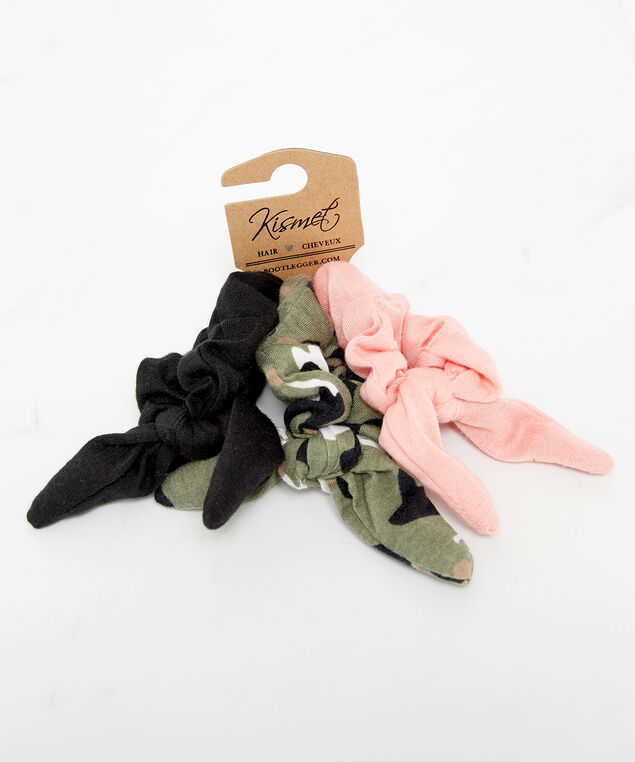 3 pack hair scrunchies with bow detail, Green Pattern, hi-res