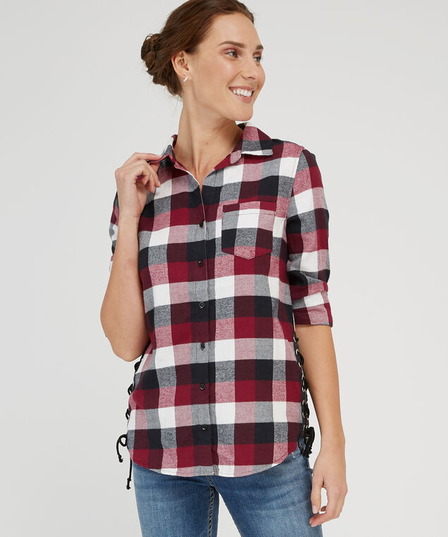 plaid with side-tie detail - wb, WINE CREAM BLUE, hi-res