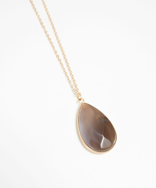 dark stone pendant necklace, GOLD, hi-res