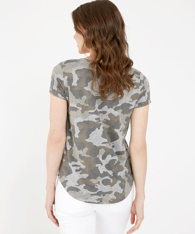 camo print tee, DARK GREEN, hi-res