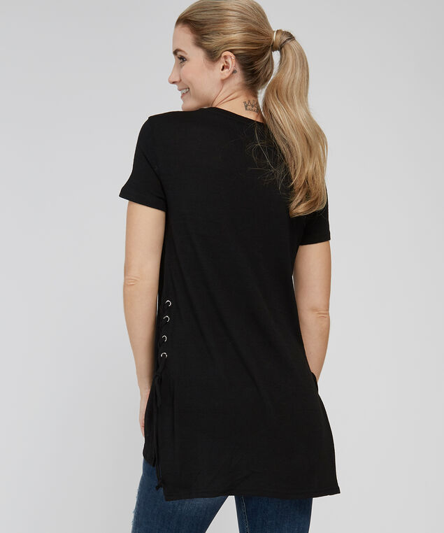 side lace up tunic - wb, BLACK, hi-res
