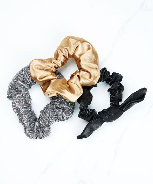3 pack of hair scrunchies, Silver/Black