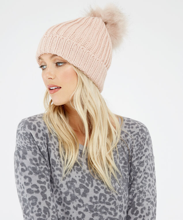 knit beanie, PINK, hi-res