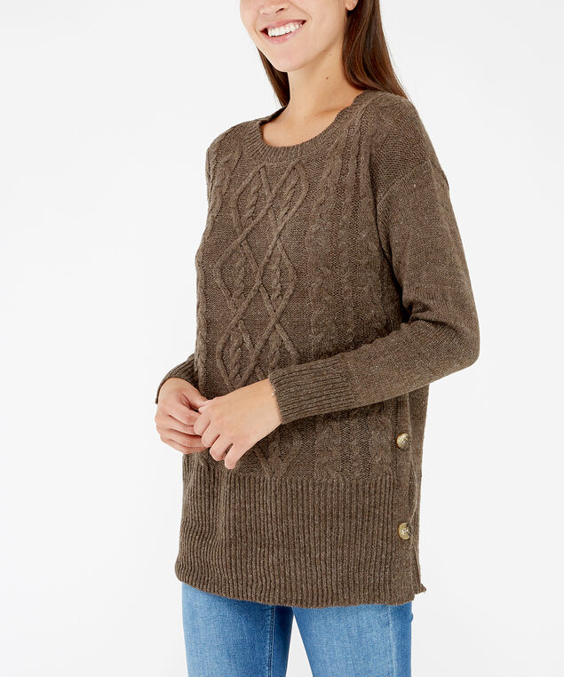 cable stitch sweater - wb, Brown, hi-res