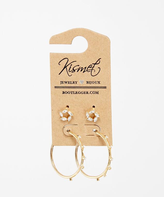 2 pack of earrings, Gold, hi-res