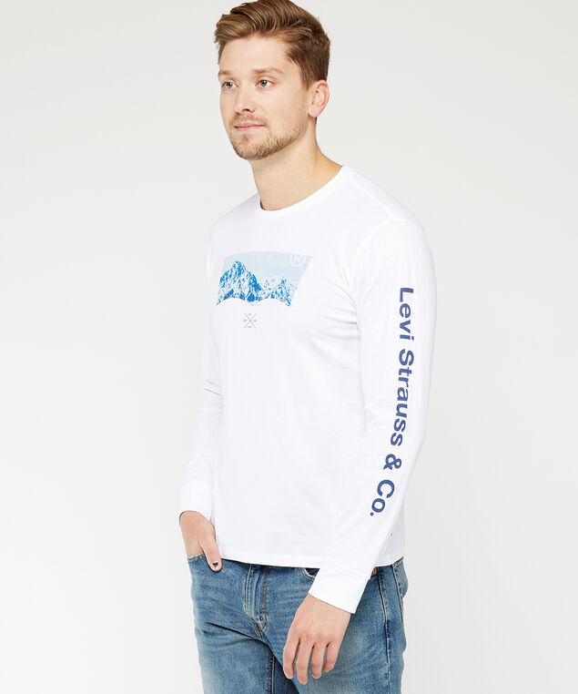 levi's long sleeve tee, White