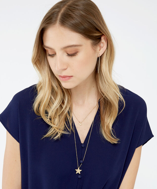 moon & star pendant necklace, GOLD, hi-res