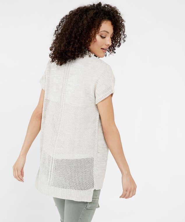 short sleeve cardigan - wb, OATMEAL, hi-res