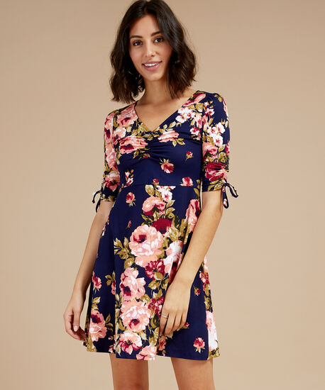 ruched v-neck 3/4 sleeve dress, NAVY ROSE, hi-res