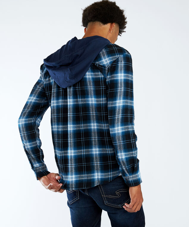 hooded flannel, Navy