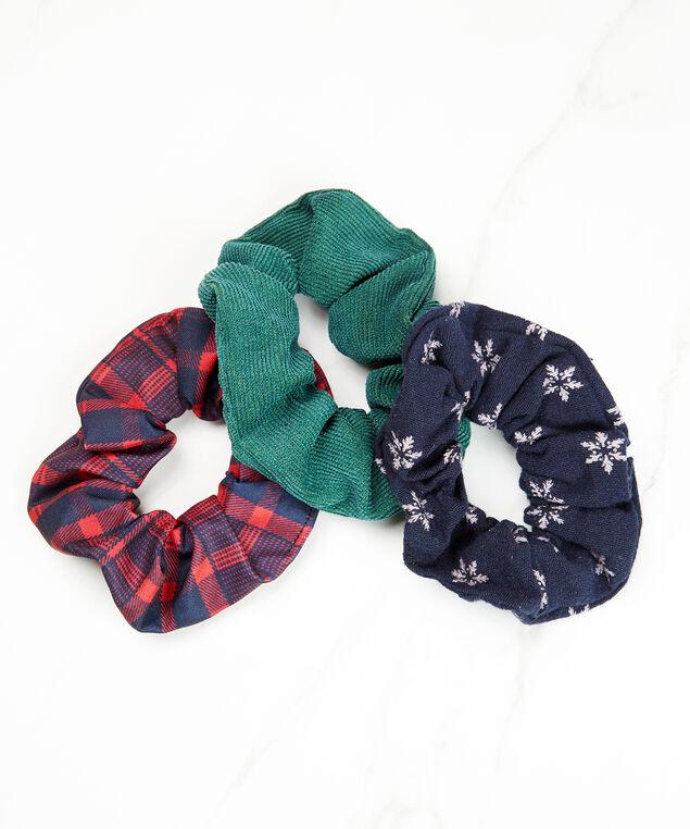3 pack of hair scrunchies, Red/Navy