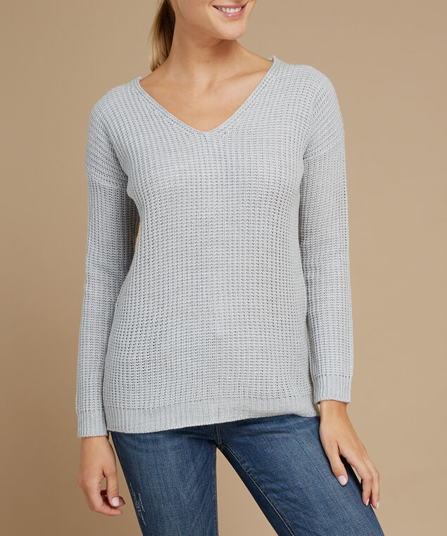 lace up back popover sweater - wb, LIGHT GREY, hi-res