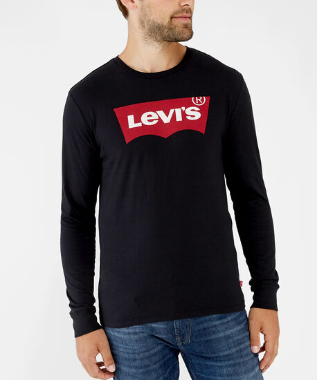 long sleeve logo tee - wb, black, hi-res