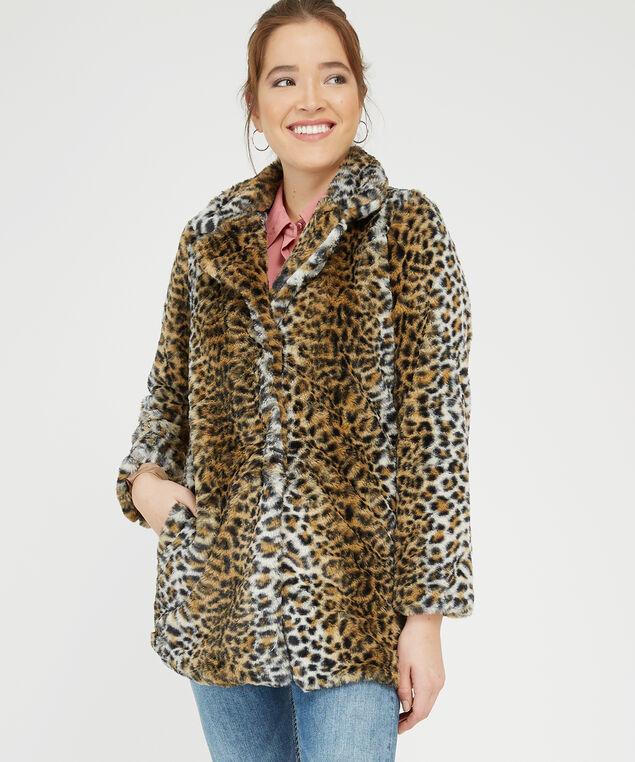 faux fur animal print coat - wb, ANIMAL PRINT, hi-res