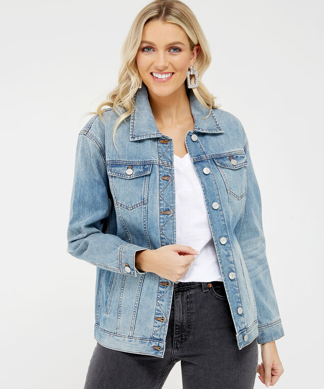long denim jacket, Denim, hi-res