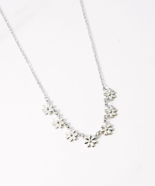 flower chain necklace, Silver, hi-res