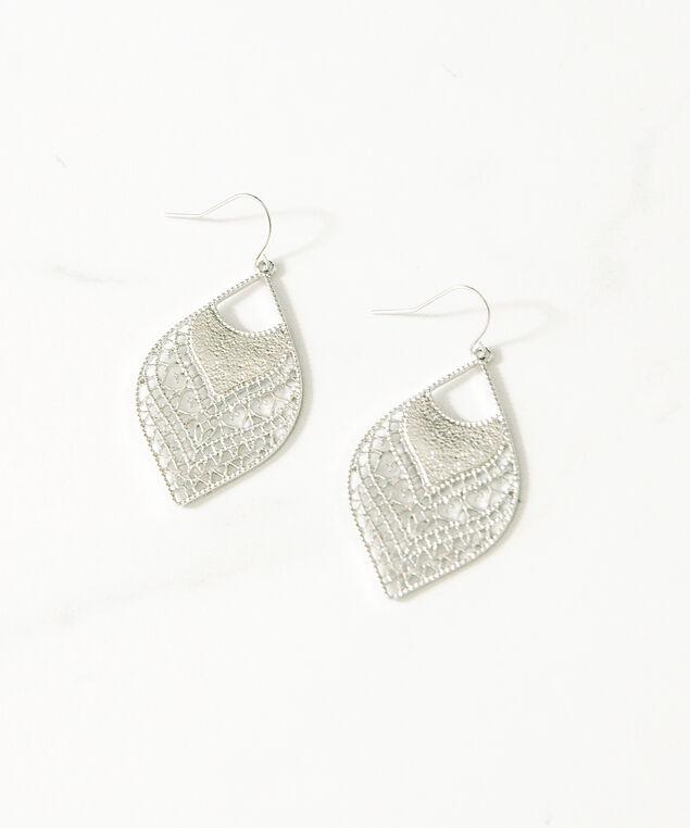 rhombus dangle earrings, Silver, hi-res