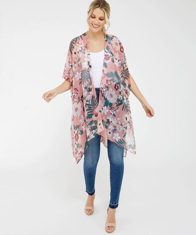 chiffon floral kimono, Pink, hi-res