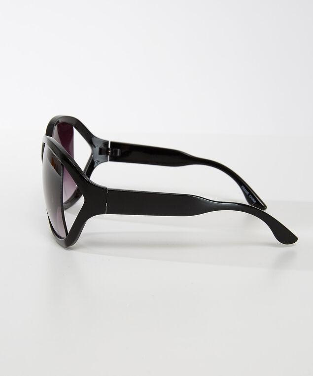 plastic criss-cross sunglasses, Black, hi-res