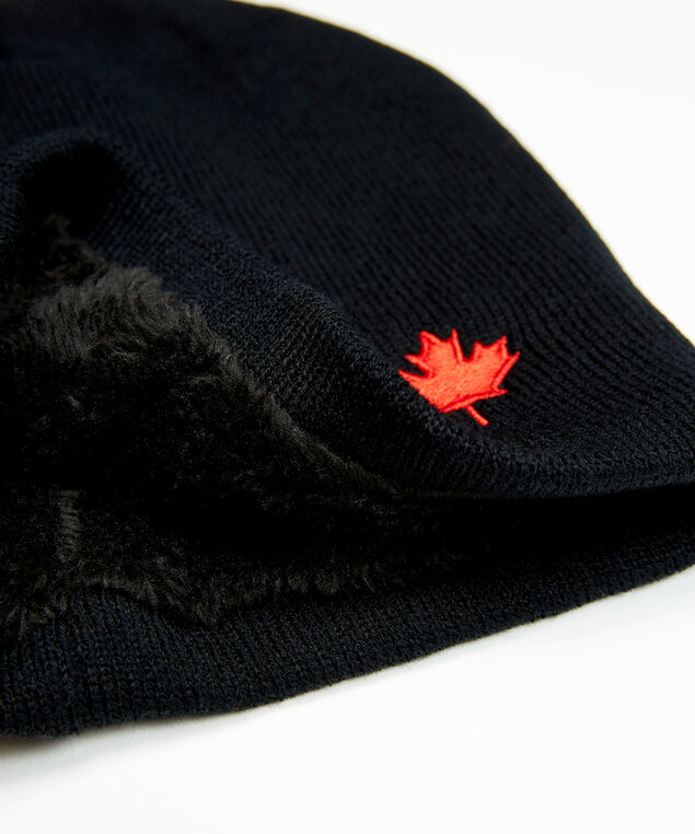 maple leaf beanie, Black, hi-res
