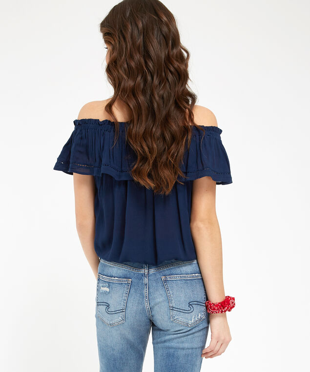 off shoulder tie front top - wb, NAVY, hi-res