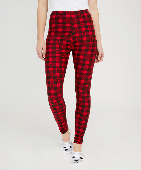 reindeer print holiday legging, RED PATTERN, hi-res