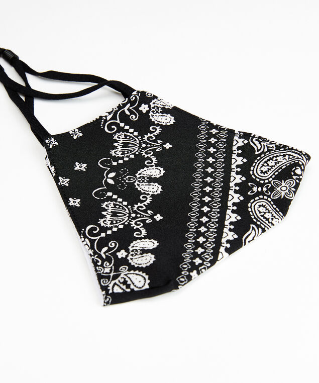 paisley print face mask, Black