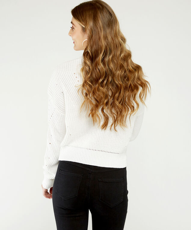 cropped pointelle sweater - wb, White