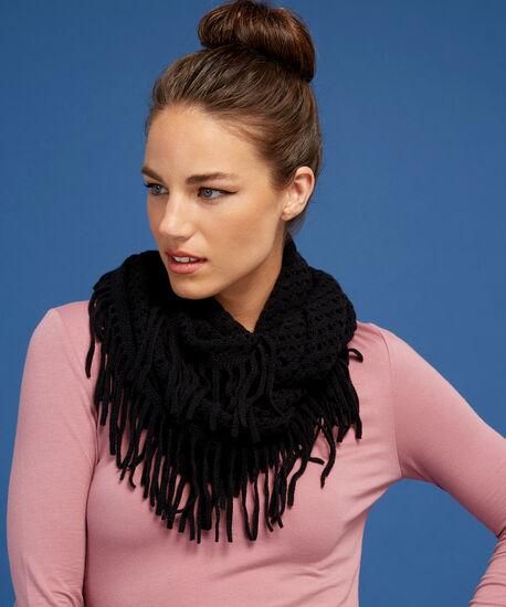 fringe infinity scarf, BLACK, hi-res