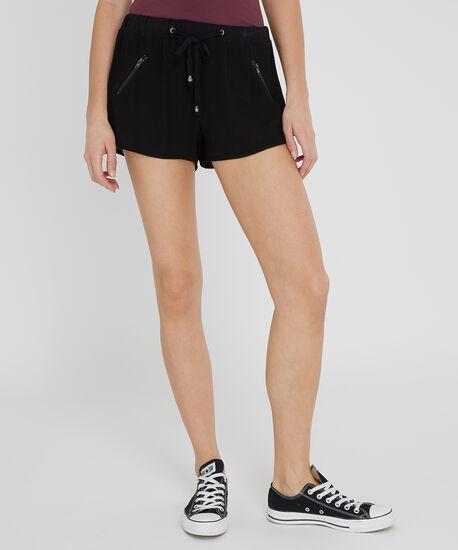 zip front jogger short - wb, BLACK, hi-res