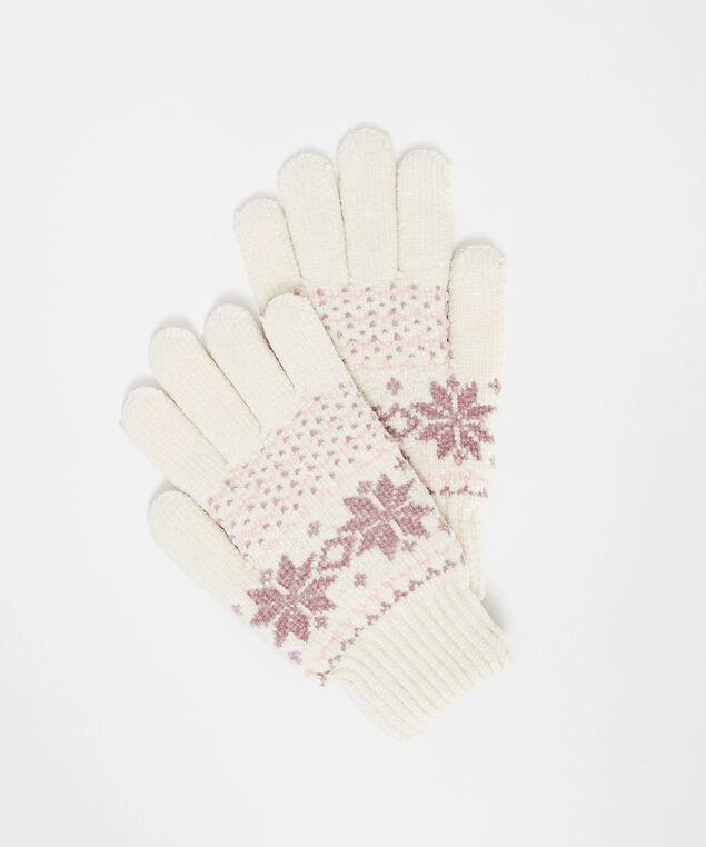 chenille fairisle gloves, Ivory, hi-res