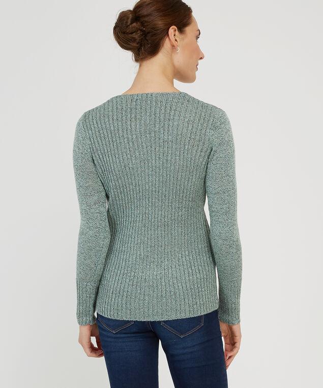 wrap front popover sweater - wb, MINT/BLACK, hi-res