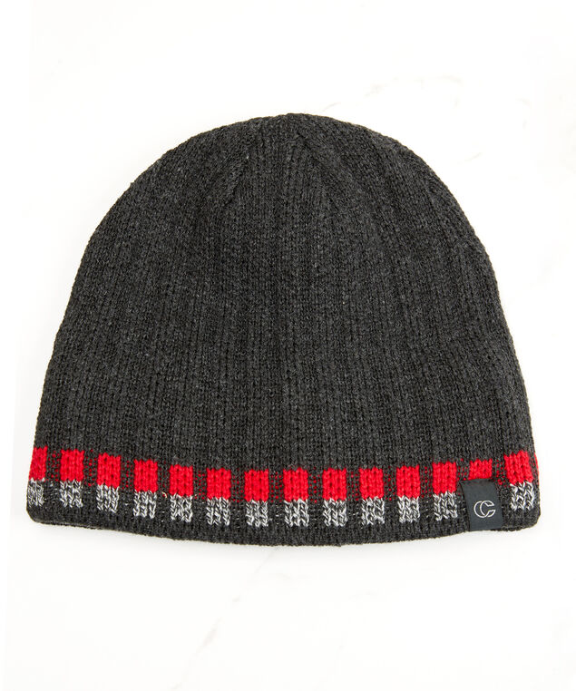 striped rib beanie, Grey, hi-res