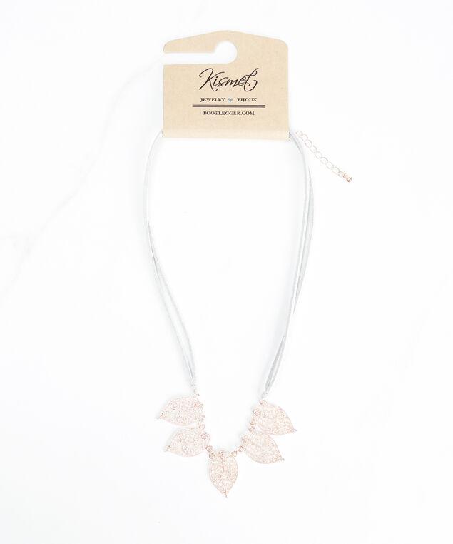 filigree leaf necklace , Rose Gold