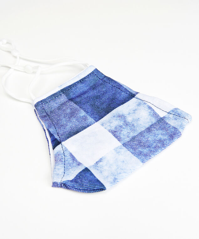 blue plaid face mask, Blue