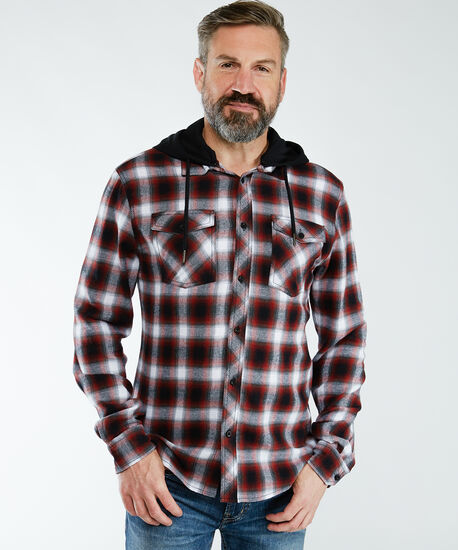 flannel shirt with hood, Plaid, hi-res