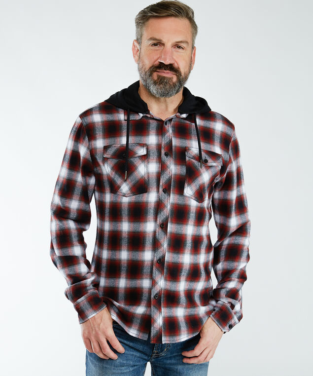 flannel shirt with hood, Plaid