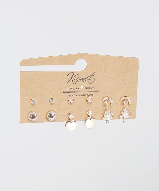 6 pack of rose gold earrings, Rose, hi-res