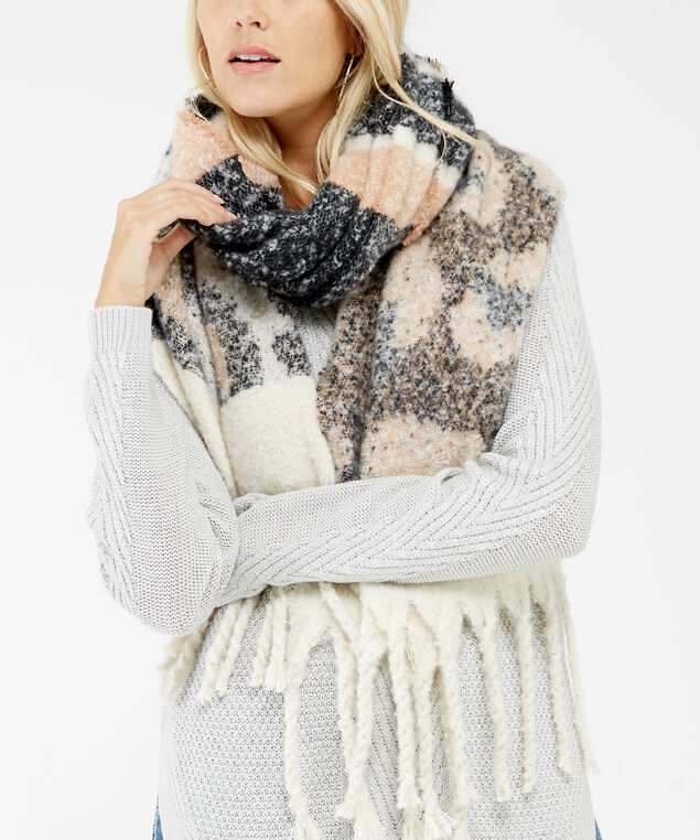 leopard blanket scarf, Neutral, hi-res