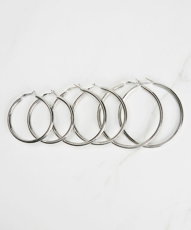 3 pack hoop earring set, Silver